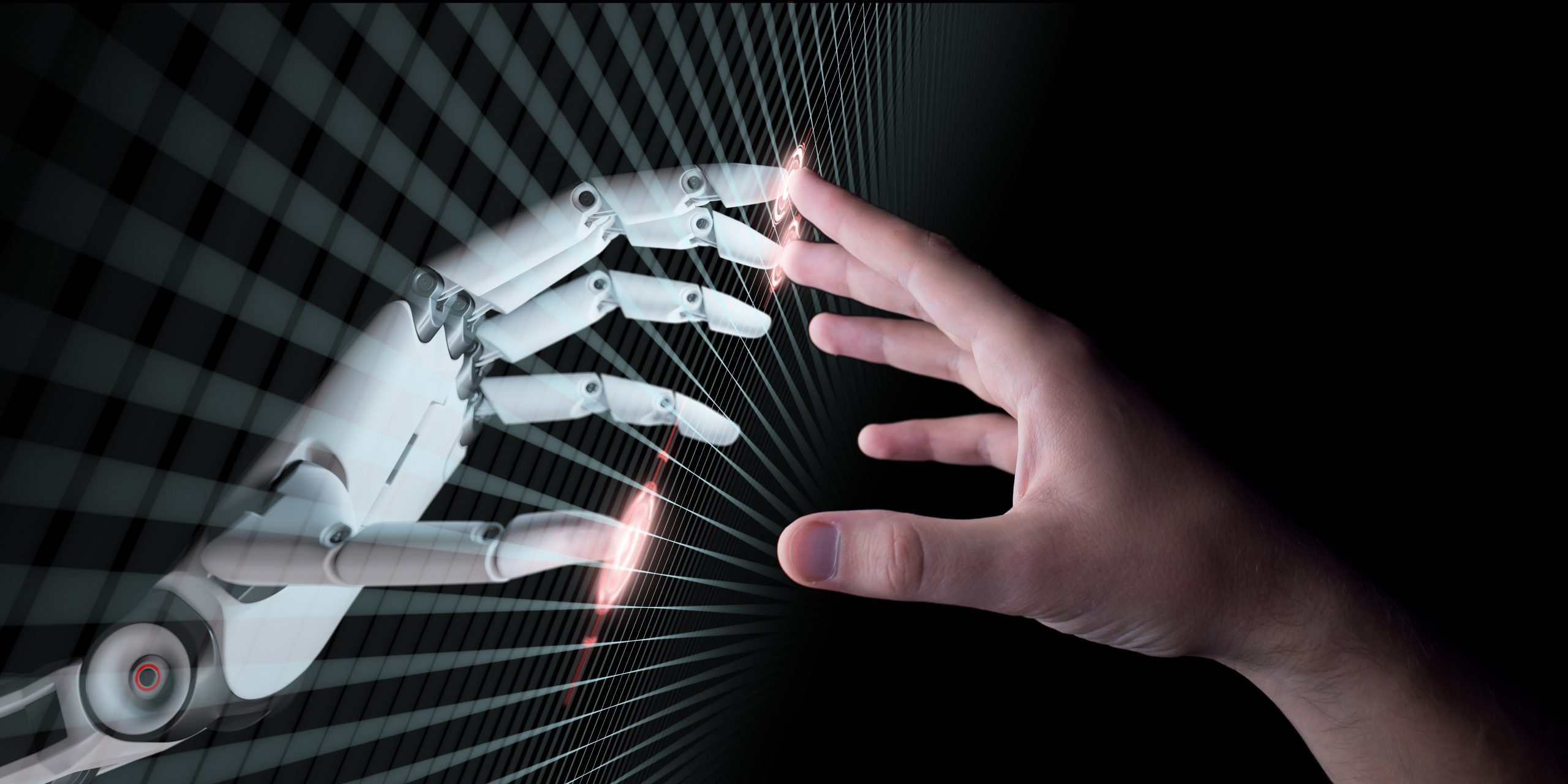 Hands,Of,Robot,And,Human,Touching.,Virtual,Reality,Or,Artificial